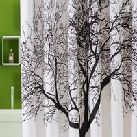 Wholesale 2015 New Hot CM Waterproof Artistic Tree Design Bathroom Bath Shower Curtain with Hooks
