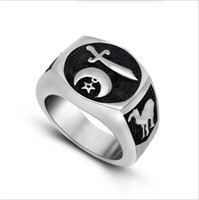 Wholesale Silver Sword Ring - Engraved Moon Star Sword Camel Player Men Ring 316L Stainless Steel Handsome Personality Accessories Size 7 8 9 10 11 12 13 R529
