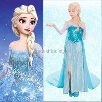 Wholesale Halloween Sets Frozen Queen Elsa Cosplay Dress Snow Cosplay Costume Adult Lady Frozen Dress Size S XXL Adult Cosplay Dress