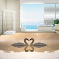beautiful bathroom tile - Beautiful swan D dimensional painting painted floor tiles D D D tile bathroom floor tile TB