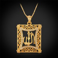Middle Eastern religious jewelry - New Islamic Allah Pendant Charms K Gold Plated Rhinestone Choker Necklace Religious Muslim Jewelry For Men Women YP210