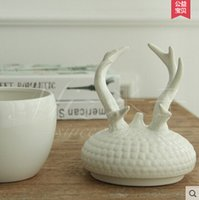 Wholesale Miz Home One Piece Optional Mason Jar Simple Europe Style Cute Deer Head White Storage Box for Candy Biscuit Nuts