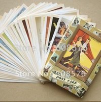 Tarjeta antigua de la memoria del vintage Tarjeta de felicitación del cumpleaños Postal del regalo de la manera para el amigo 32pcs / set
