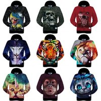 Wholesale Fall New fashion Men Women D Printed Jackets cat tiger deer leopard skull snake lion print d hoodies novelty clothing with hats