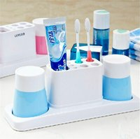 Wholesale 2015 New Colorful Design Wash ware suits Creative Family Sanitary Ware Blue Green Pink Cup Holder With Brush teeth and toothpaste set