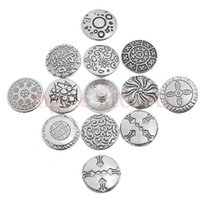 Wholesale 200PCs Mixed New Fashion Alloy Button Silver Snap Press Pendant Silver Snap Button Charms For Snap Button Jewelry mm
