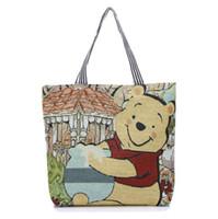 Belles femmes ours d'impression sac fourre-tout en toile un sac à bandoulière femmes gadgets tirette porte-sac 2 modèles