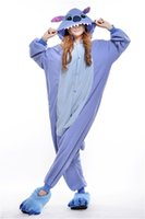 adult footed sleepwear - Blue Stitch New Winter Pajamas Unisex Romper Pajamas Adult Cosplay Costumes Sleepwear Adult Onesies Womens Footed Pajamas P022
