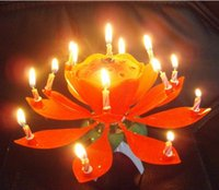 Wholesale 20pcs Beautiful Musical Blossom Lotus Flower Candle Birthday Party Music Sparkle Lotus Birthday Candle