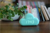 Wholesale 2015 Original Muid Design Cloud Digital Alarm Clock power supply Mint Voice activated LED Wall Clock blacklight for Home Office decoration