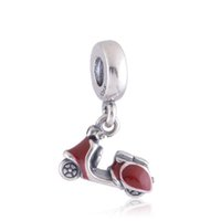 motorcycle charms - motorcycle charm pandora beads jewelry Screw thread Sterling Silver Red Enamel Pave Motorcycle Pendant Charm Women Jewelry LW258