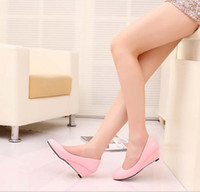 Wholesale Patent Leather Women s Shoes Pointed Toe Women High Heels Candy Color Ladies Wedges Shoes Solid PU Leather Sapatos