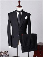 Wholesale Custom Design Two Buttons Black Groom Tuxedos Notch Lapel Groomsmen Men Wedding Tuxedos Dinner Prom Suits