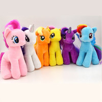 Unisex baby soft toys wholesale - 6pcs Cute cm My Little Pony Plush Horse Rainbow Dash Stuffed Plush Toys Soft Teddy Dolls Set For Baby Boy Girl Toy