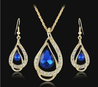 Wholesale Women k Yellow Gold Plated Ruby white Blue Green Sapphire Austrian Crystal Chain Jewelry Sets Necklace Earrings Jewelry Sets DR