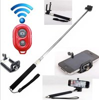 Wholesale Z07 Extendable Handheld Monopod selfie Stick cell phone Clip holder Bluetooth Remote Shutter For Gopro iPhone Samsung Smartphone