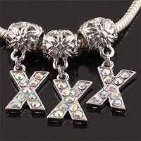 Wholesale AB Rhinestone Crystal Alphabet Letter X Charms Pendants Metal Spacers Large Hole Beads Fit European Bracelet