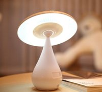 Round No DC Rechargeable Mushroom-shaped LED Book Style Desk Table Folding Lamp Light WHITE with USB Charger