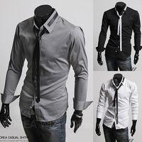 Wholesale New men s silim tide men s long sleeved shirt with tie Autumn Mens Long Sleeved Dress Shirts Double Collar Button Unique Design