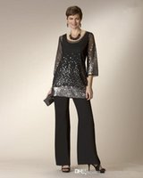 chiffon jacket - Mother of the Bride Pants Suits Actual Image Black Sequins with jacket chiffon Mother of the Bride Dresses Formal Evening Dresses