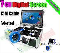 """SONY CCD 600 líneas de TV 7 """"TFT LCD a color de la cámara bajo el agua con 15M Cable Pesca Cámara CCTV cámara de vídeo de la caja de aluminio de la cámara"""