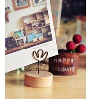Wholesale New Cute Creative metal stands Memo Clip Bookmark Wooden message clip Office School