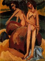 al buy - Ernst Ludwig Kirchner s oil painting for pub Bagnanti al mare buy high quality reproduction