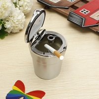 ABS lighted cup holder - Office Car Interior Blue LED Light Smokeless Cigarette Ashtray Holder Cup Sliver