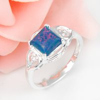 Cheap 2pcs lot Square Newest Fire Opal Gemstone 925 Sterling Silver Wedding Ring Jewelry Gift