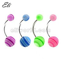 wholesale belly rings - pieces Belly Navel Button Bar Ring UV Acrylic Stripe Ball Body Piercing Jewelry
