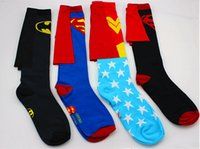 Wholesale New Fashion Dc Superman Batman Wonder Superhero Blue Star Knee High Crew Socks With Cape For Women Men Couple Cotton Stockings pairs