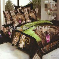 Cheap Brown bear bedding set 4pc duvet quilt cover 3d printed animals black green bedclothes bedspreads pillowcase queen size 500 TC