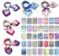 Wholesale Bow ties Paris fashion yarn small square Leopard A variety of small square silk printing Scarves Thousands of flowers Bow tie