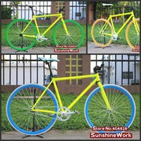 aluminum single speed frame - Fluorescent Yellow Frame cm Color Rim Tyre X23C FIXEE Fixed Gear Bike Single Speed Bike Special Price
