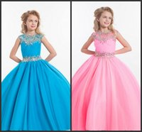 accessories custom embroidery - 2016 Pink Blue Ball Gown For Girls Pageant Dresses Bling Crystal Kids Formal Wear Accessories Flower Girls Dresses For Wedding Party Gowns
