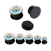 Cheap Wholesale Lot Ice Cream Black Acrylic Screw Fit Ear Flesh Tunnel Plugs Body Piercing 6mm-14mm