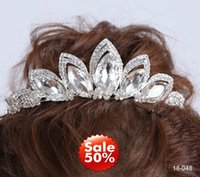 Wholesale Crystal Cheap Bridal Crown Tiaras Hair Accessories Silver Sparkly In Stock