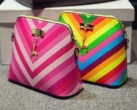 bag hander - New Style Fashion Femal s Bag Rainbow Shell Bag Deer Hander bag Single Shoulder Zippoer Bag