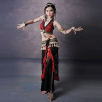 Ruffled women ruffle pants - 3 Piece Set Women Pant and Top Tribal Belly Dance Costume Lace Belt Plus Size Tribal Belly Dance