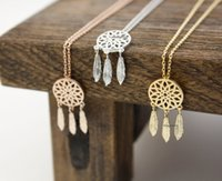 wholesale vintage jewelry - Mix Color Gold Plated Vintage Wish Jewelry Dainty Cute Dreamcatcher Chain Pendant Necklace For Women And Men