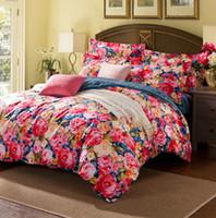 bedroom bedspreads - Peony Flowers Prints Bedding set Cotton for Bedroom Full Queen King Wedding Duvet Cover Navy Blue Stripes Bedspread Sheet