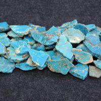 aqua gemstones - Natural Aqua Imperial Jasper Beads Raw Gemstone Emperor Stone Freeform Slice Beaded for Necklace Pendants Pirce
