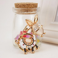 Wholesale Affandi donkey CHARM KEYCHAIN crystal key small gifts creative diamond buckle waist hanging car key chain Ms