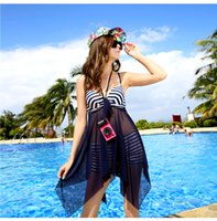 Wholesale Conservative Skirts - New Sexy Bikini Swimwear For Women Swimsuits Navy Conservative Cover The Belly Swimming Skirts 2 pieces