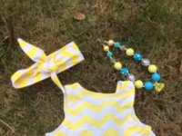 Wholesale car new baby yellow chevron heart swing outfits with matching necklace and bows set