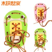 Wholesale Kid Toy Animal Jigsaw - Wholesale Montessori educational wooden toy animal baby Tie shoes multifunctional intellect Jigsaw Puzzle Infants Kids Developmental Toy
