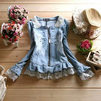 denim jackets women - HHOT Sale new Women Denim Jackets princess Outwear Jeans Coats Diamonds Pearls Lace ladies coat AX