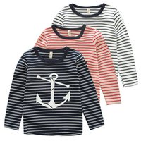 anchor blue shirts - Children Stripe T shirts Cartoon Anchor Printed Long Sleeve Clothing For Boys And Girls Cotton Comfortable Joker Kids T Shirt K718