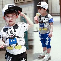 Cheap 2015 summer children clothes set baby boys set Mickey Minnie cartoon baby & kids clothing suit for boys 3-8years TZX117