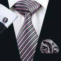 Raya rosada corbata de seda Set pañuelo de las mancuernas Jacquard Tejido Lazo determinado del asunto del trabajo formal Reunión Ocio N-0307